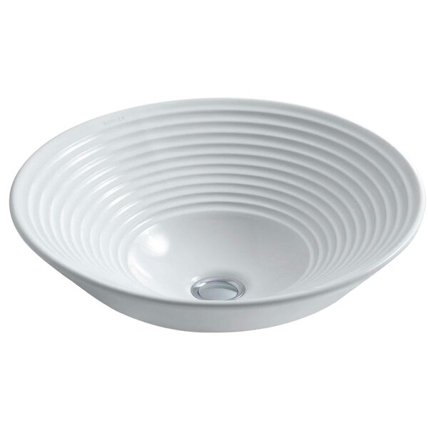 Turnings Ceramic Circular Vessel Bathroom Sink by Kohler