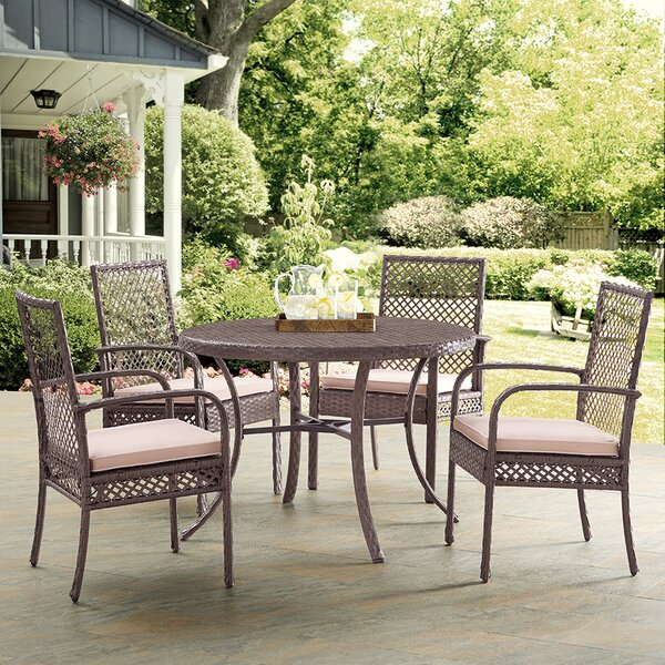 Tribeca 5 Piece Dining Set with Cushions by Beachcrest Home