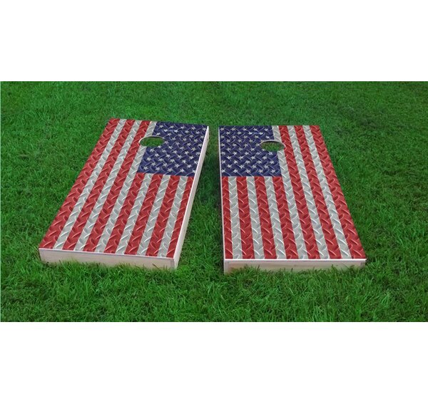 Diamond Plate American Flag Cornhole Game Set by Custom Cornhole Boards