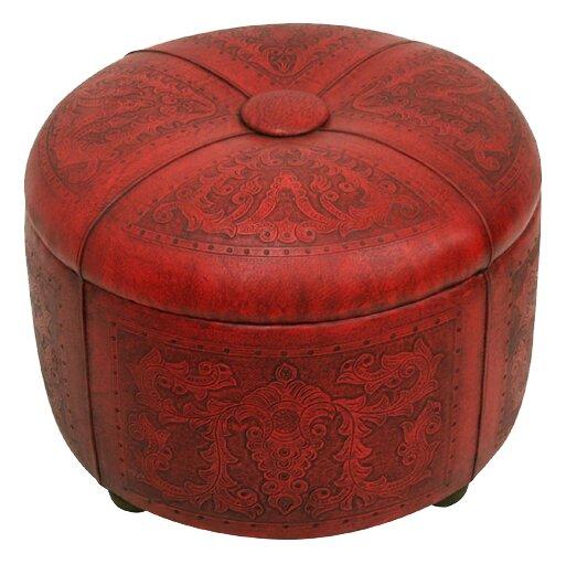 Review Navarette Bouquet Leather Tufted Storage Ottoman