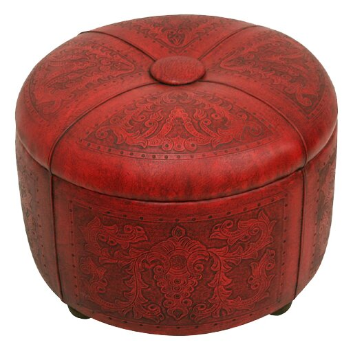 Navarette Bouquet Leather Tufted Storage Ottoman By Astoria Grand