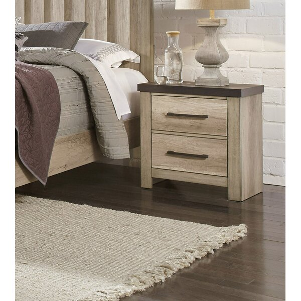 Destinie USB Charging 2 Drawer Nightstand by Union Rustic