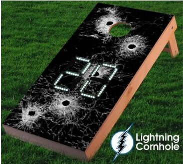 Electronic Scoring Bullet Holes Cornhole Board by Lightning Cornhole