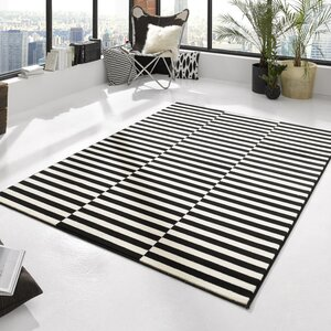 Teppich Panel in Schwarz/Creme