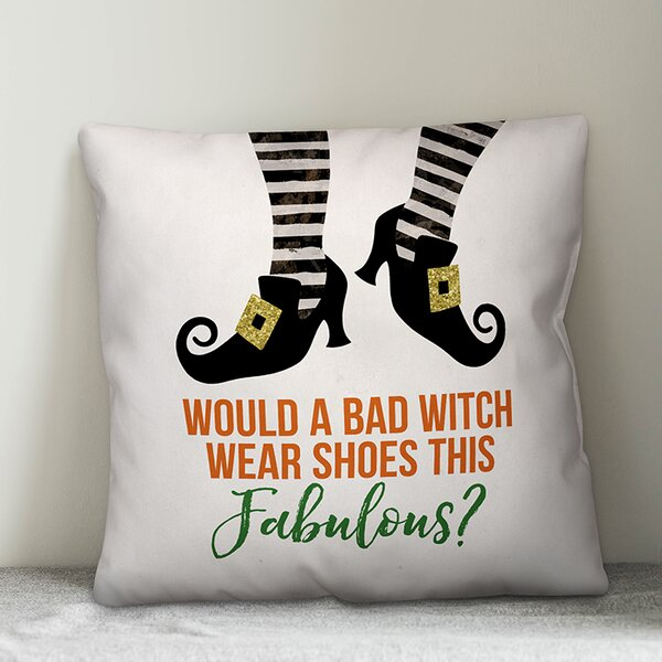 Bad Witch Fabulous Shoes Throw Pillow by The Holiday Aisle
