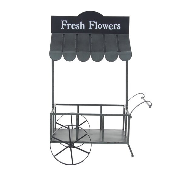 Osterley Cart with Roof Metal Planter Box by Gracie Oaks