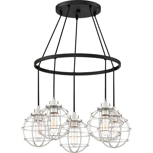 Cleland 5 - Light Shaded Wagon Wheel Chandelier By Williston Forge