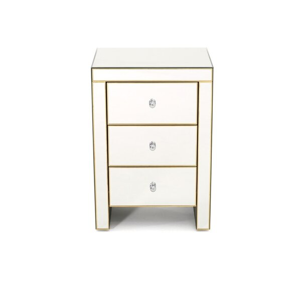 Enos Mirror 3 Drawer Nightstand by Everly Quinn