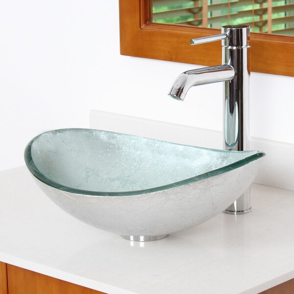 Hand Painted Glass Oval Vessel Bathroom Sink by El