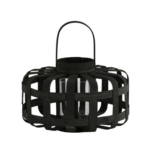 Low Round Wood Lantern by Williston Forge