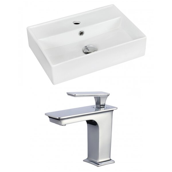 Ceramic Rectangular Wall-Mount Bathroom Sink with Faucet and Overflow
