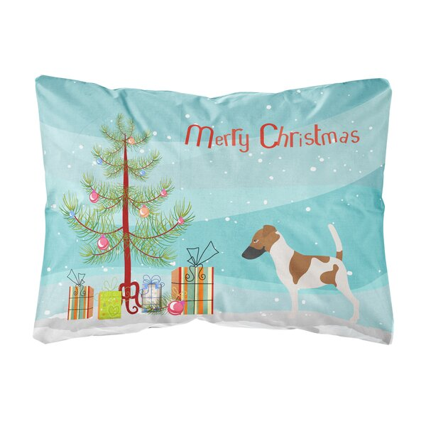 Euclid Smooth Fox Terrier Christmas Indoor/Outdoor Throw Pillow by The Holiday Aisle