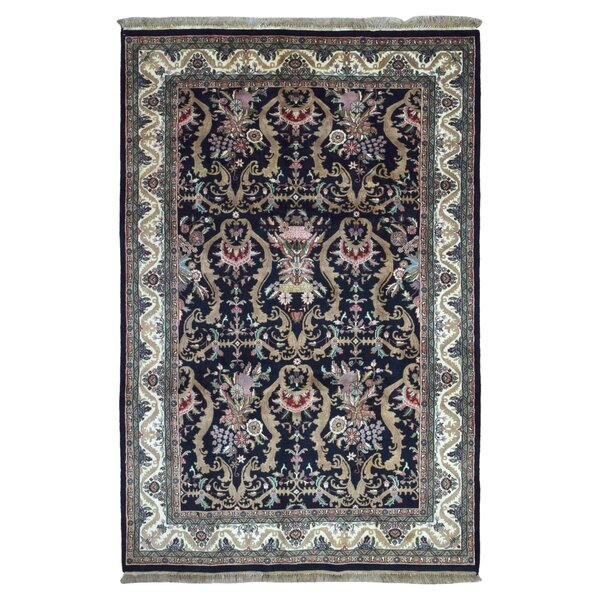 One-of-a-Kind Slagen Oriental Floral Hand Woven Rectangle Wool Navy Area Rug by Isabelline