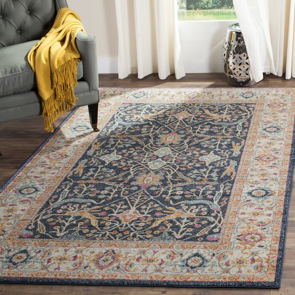 Grieve Navy/Cream Area Rug by Bungalow Rose