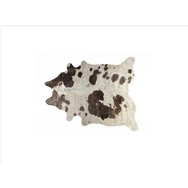 Houchin Cowhide Chocolate/White Area Rug by Brayden Studio