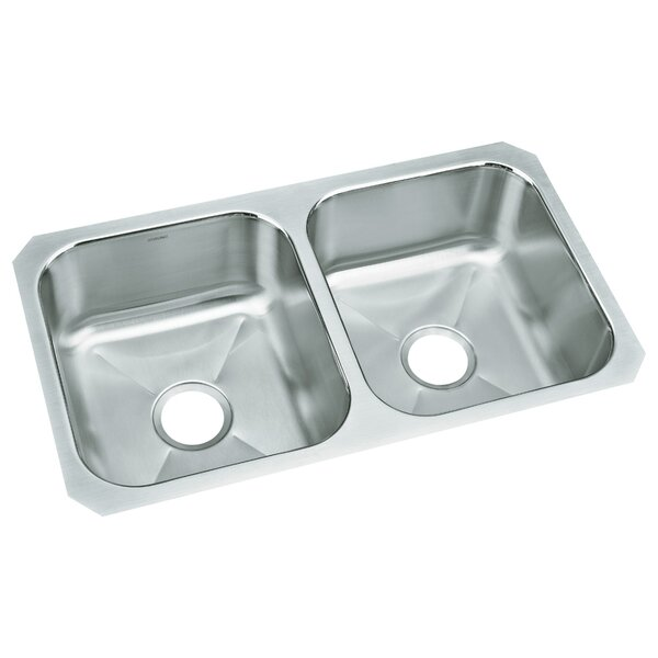 McAllister 32 L x 18 W No Holes Undermount Double Bowl Kitchen Sink by Sterling by Kohler