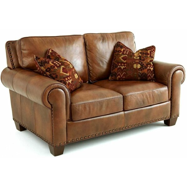 Big Save Silverado Genuine Leather 68 Rolled Arm Loveseat by Steve Silver Furniture