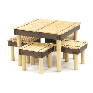 Gina Bamboo Coffee Table with Four Stools World Menagerie