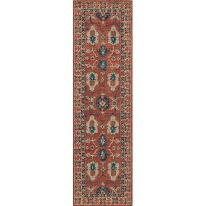 Adilet Hand-Hooked Red Area Rug