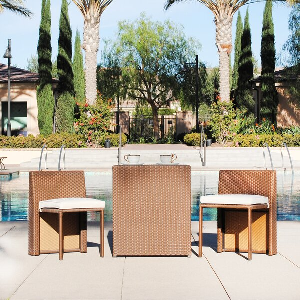 Albina 3-Piece Rattan Seating Group with Cushions by Zipcode Design