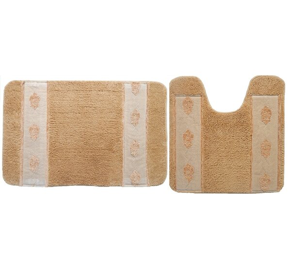 Isaiah Rectangle Non-Slip piece Bath Rug Set