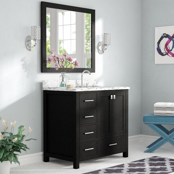 Raishon 36 Single Bathroom Vanity Set with White Marble Top and Mirror by Willa Arlo Interiors