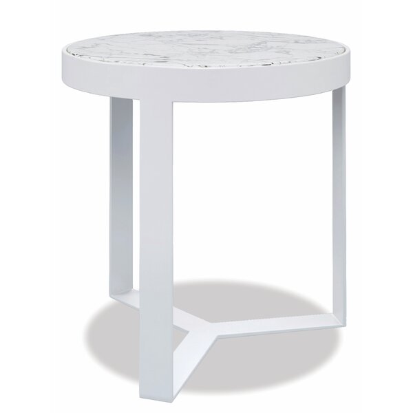 """Contemporary """"18"""" Round End Table Frost Finish With Honed Cararra Top by Sunset West"""
