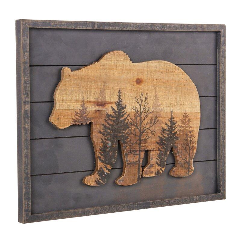 Loon Peak Rustic Wood Grizzly Bear Wall
