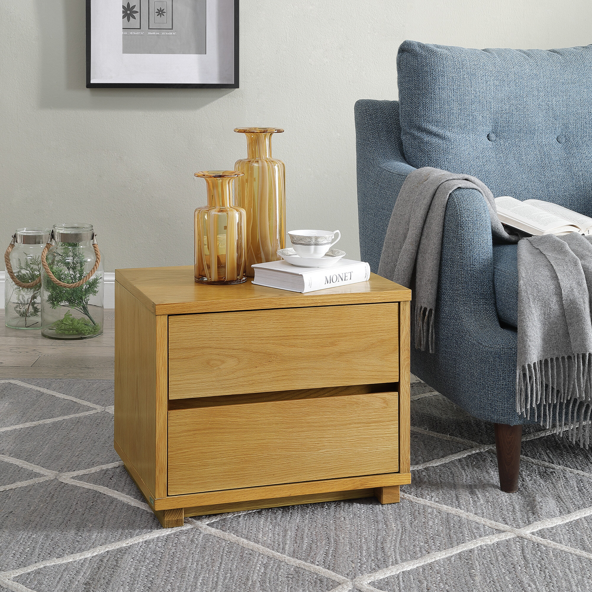 Latitude Run Frackville 2 Drawer Solid Wood Nightstand In Oak Wayfair