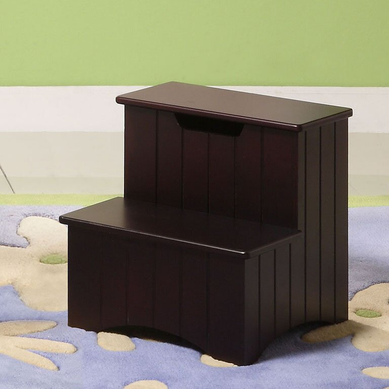 2 Step Manufactured Wood Storage Step Stool With 200 Lb. Load Capacity