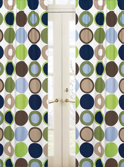 Designer Dot Polka dots Semi-Sheer Rod pocket Curtain Panels (Set of 2) by Sweet Jojo Designs