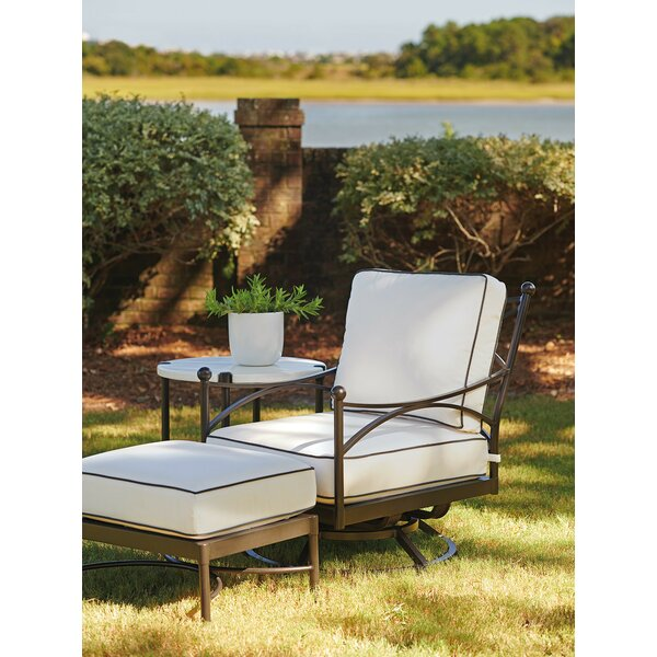 Pavlova Swivel Patio Chair with Sunbrella Cushions and Ottoman by Tommy Bahama Outdoor