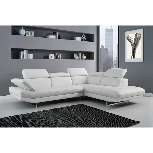 Carner Leather Sectional by Orren Ellis