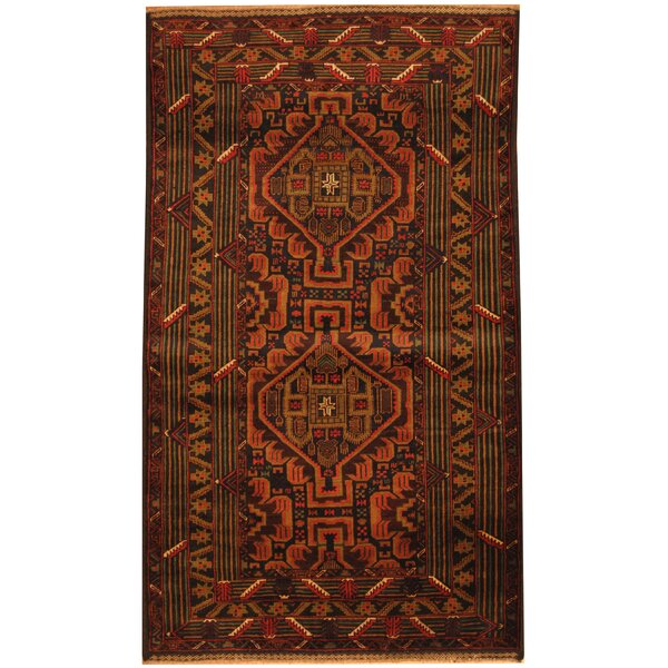 Prentice Tribal Balouchi Hand-Knotted Navy/Tan Area Rug by Isabelline