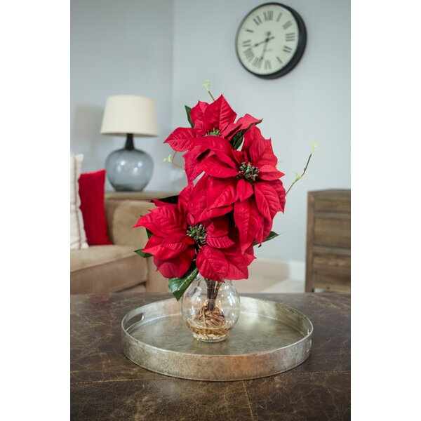 Poinsettia with Fluted Vase Silk Flower Arrangement by Nearly Natural