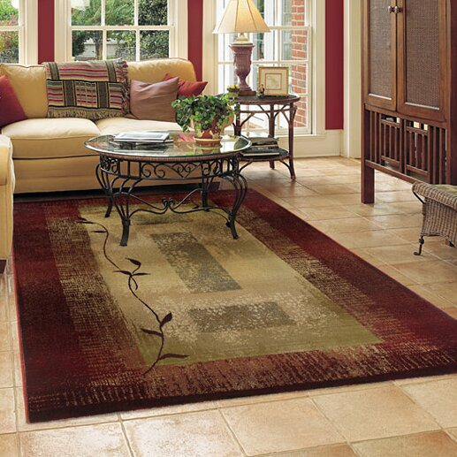 Matilda Dark Red/Beige Area Rug by Red Barrel Studio