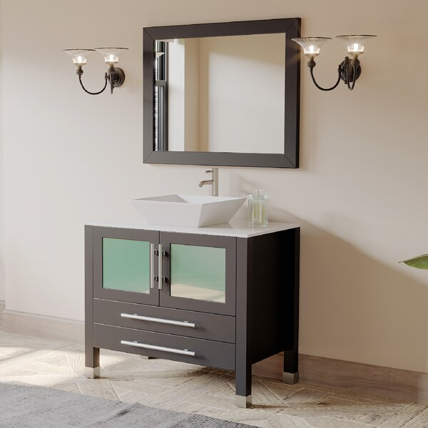 Meserve Solid Wood and Porcelain Vessel 36 Single Bathroom Vanity Set with Mirror by Brayden Studio