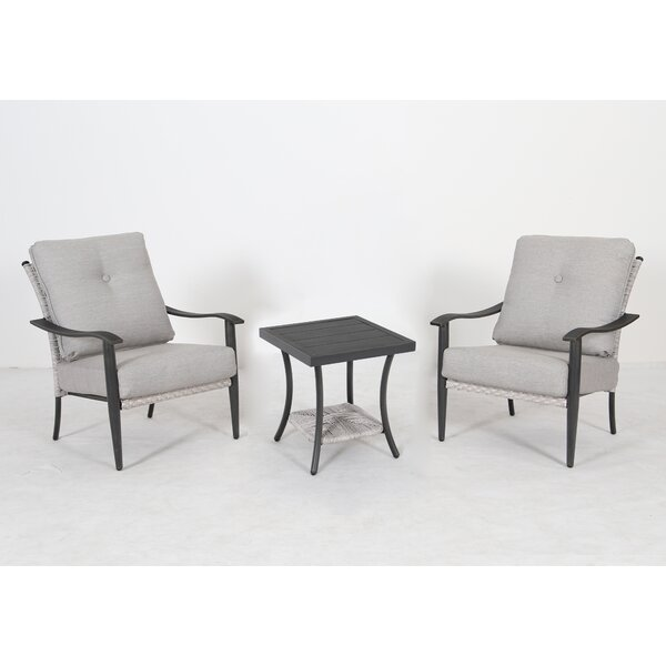 Brayan Woven 3 Piece Seating Group with Cushions by Rosecliff Heights