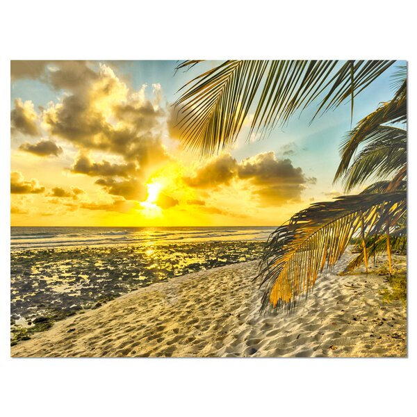 White Caribbean Beach with Palms Photographic Print on Wrapped Canvas by Design Art