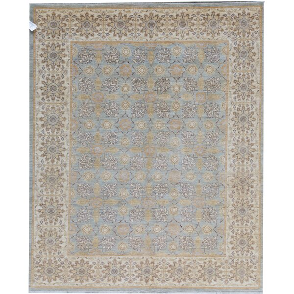 Ziegler Oriental Hand-Knotted Wool Light Blue/Beige Area Rug
