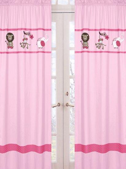 Jungle Friends Wildlife Semi-Sheer Rod pocket Curtain Panels (Set of 2) by Sweet Jojo Designs