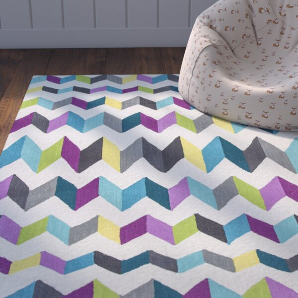 Zachariah Hand-Tufted Teal/Gray Area Rug by Zoomie Kids