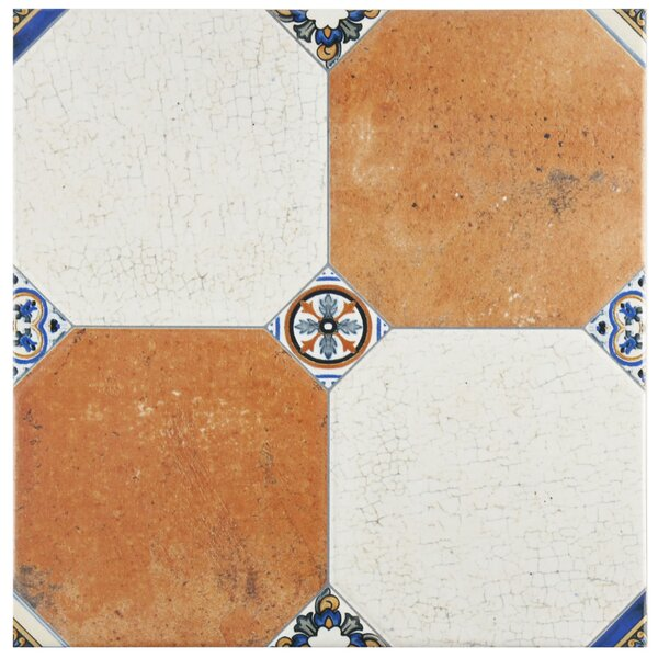 Turia 13.12 x 13.12 Ceramic Field Tile in White/Orange by EliteTile