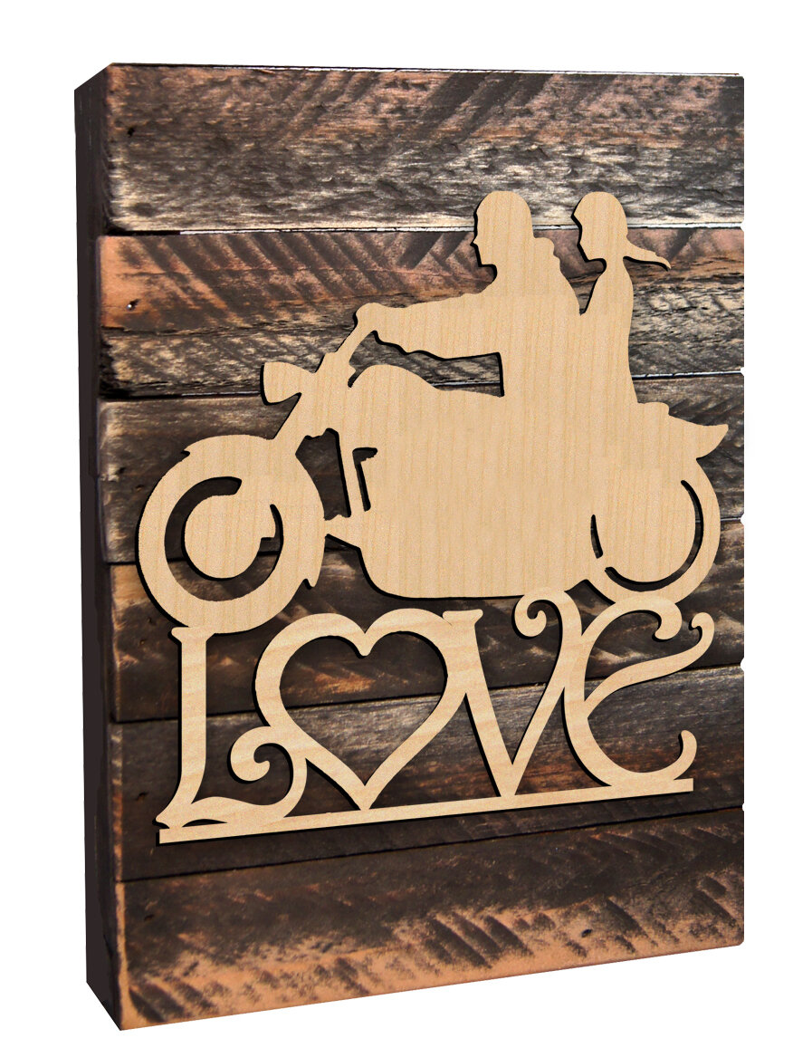 aMonogramArtUnlimited Harley His and Her Love on a Wooden Board Wall ...