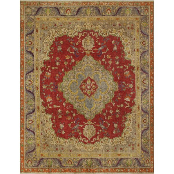 Flannery Vintage Distressed Overdyed Hand Knotted Wool Red Area Rug by Astoria Grand