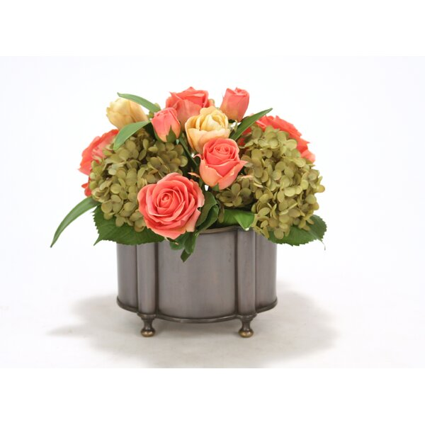 Coral Roses, Yellow-Pink Tulips and Green Hydrangea in Metal Oval Planter by Distinctive Designs