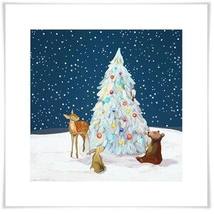 'Winter Wonderland Tree With Friends' Acrylic Painting Print