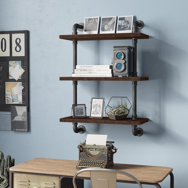 Song Industrial Pipe Wood Accent Wall Shelf by Trent Austin Design