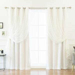 Mix and Match Tulle Solid Blackout Thermal Grommet Single Curtain Panel