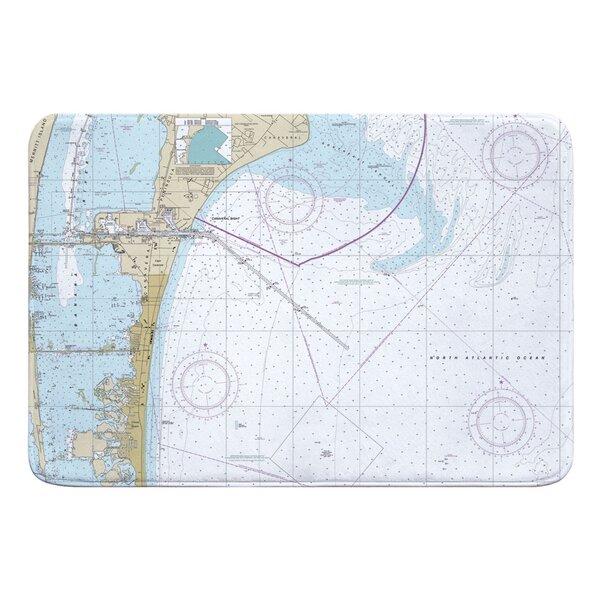 Nautical Chart Cape Canaveral, Cocoa Beach FL Rectangle Memory Foam Non-Slip Bath Rug